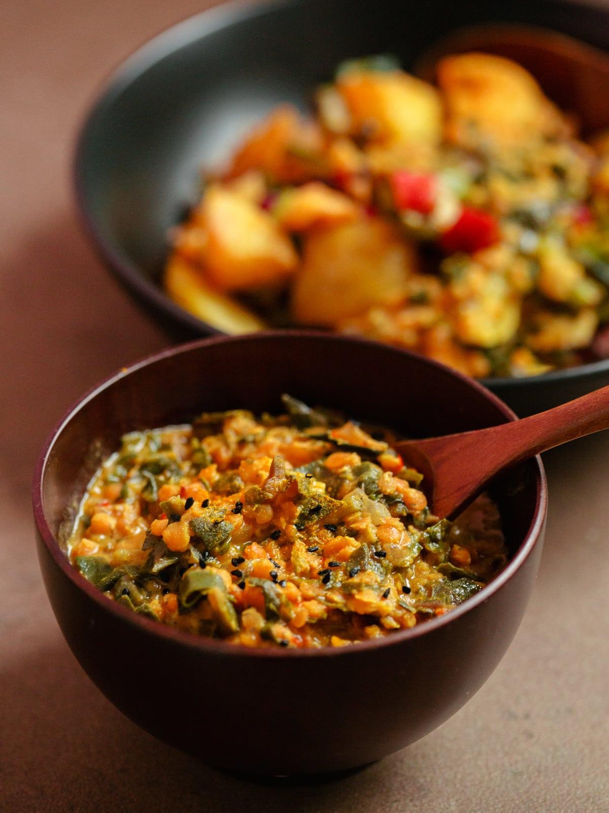 mangold linsen curry second day pimped mit kartoffeln