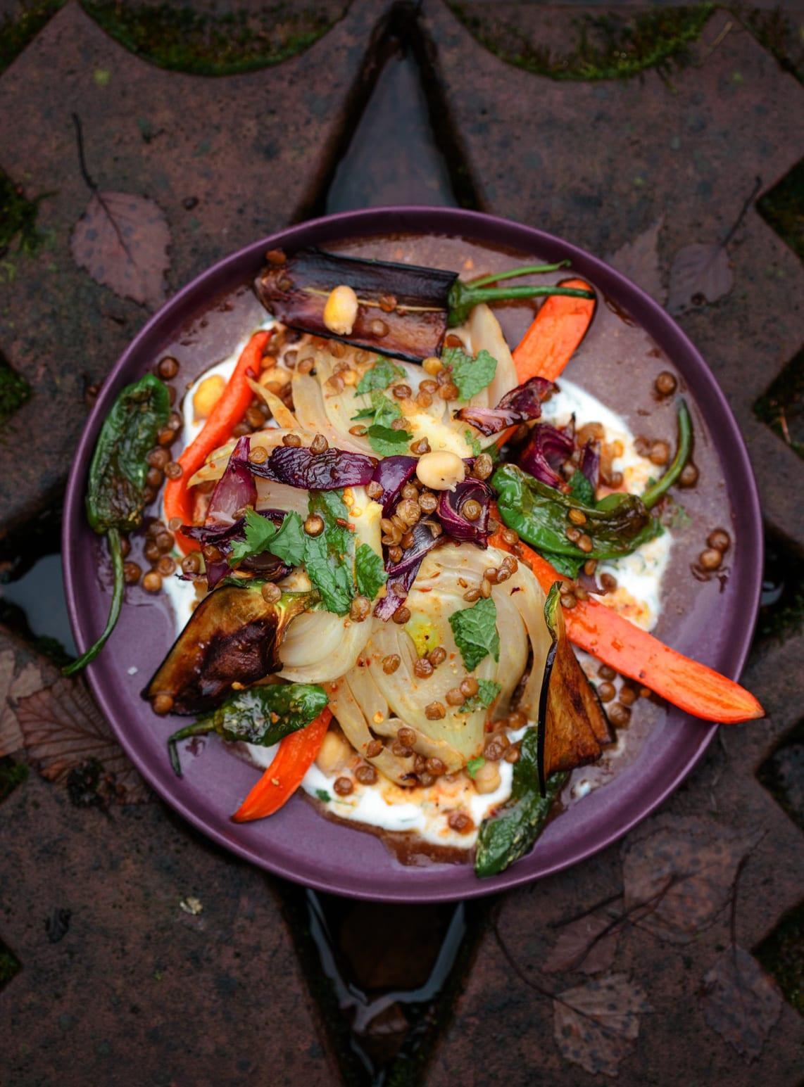 veganes menu mit harissa fenchel und harissa karotten
