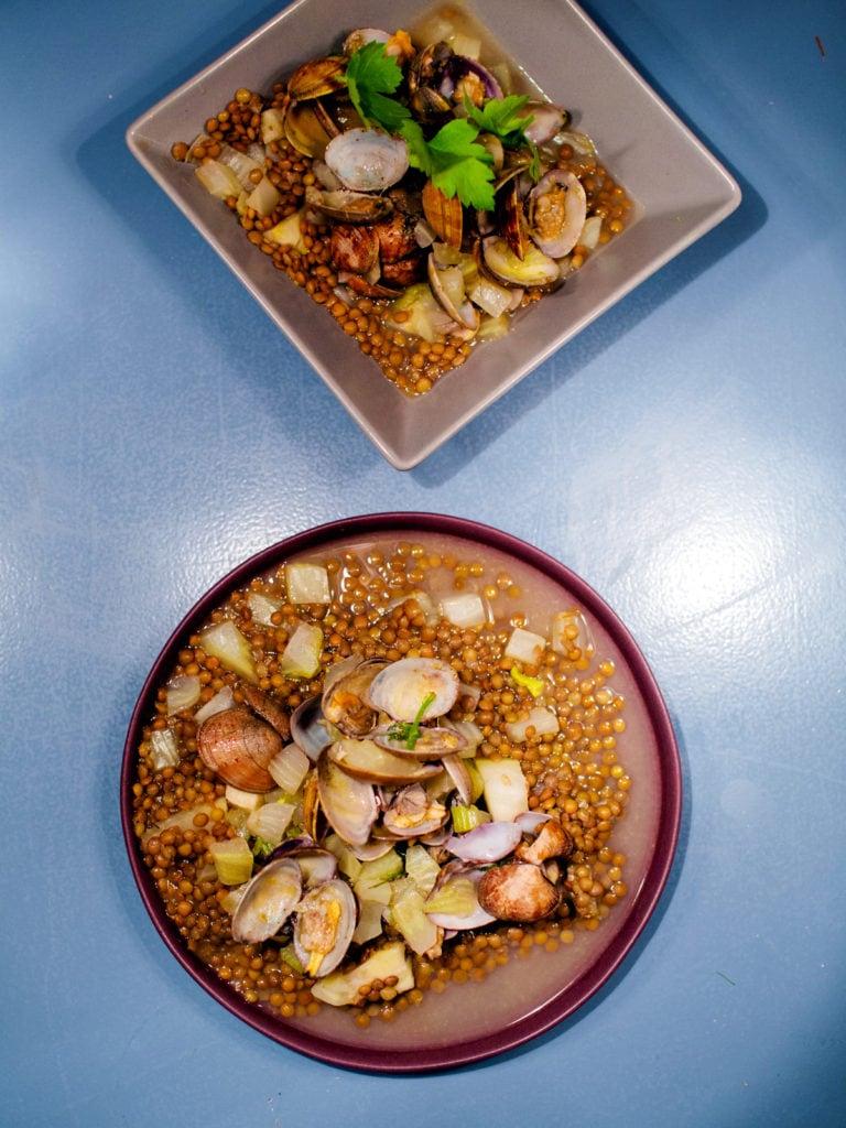 Linsenfenchelsalat mit Pernod und Venusmuscheln