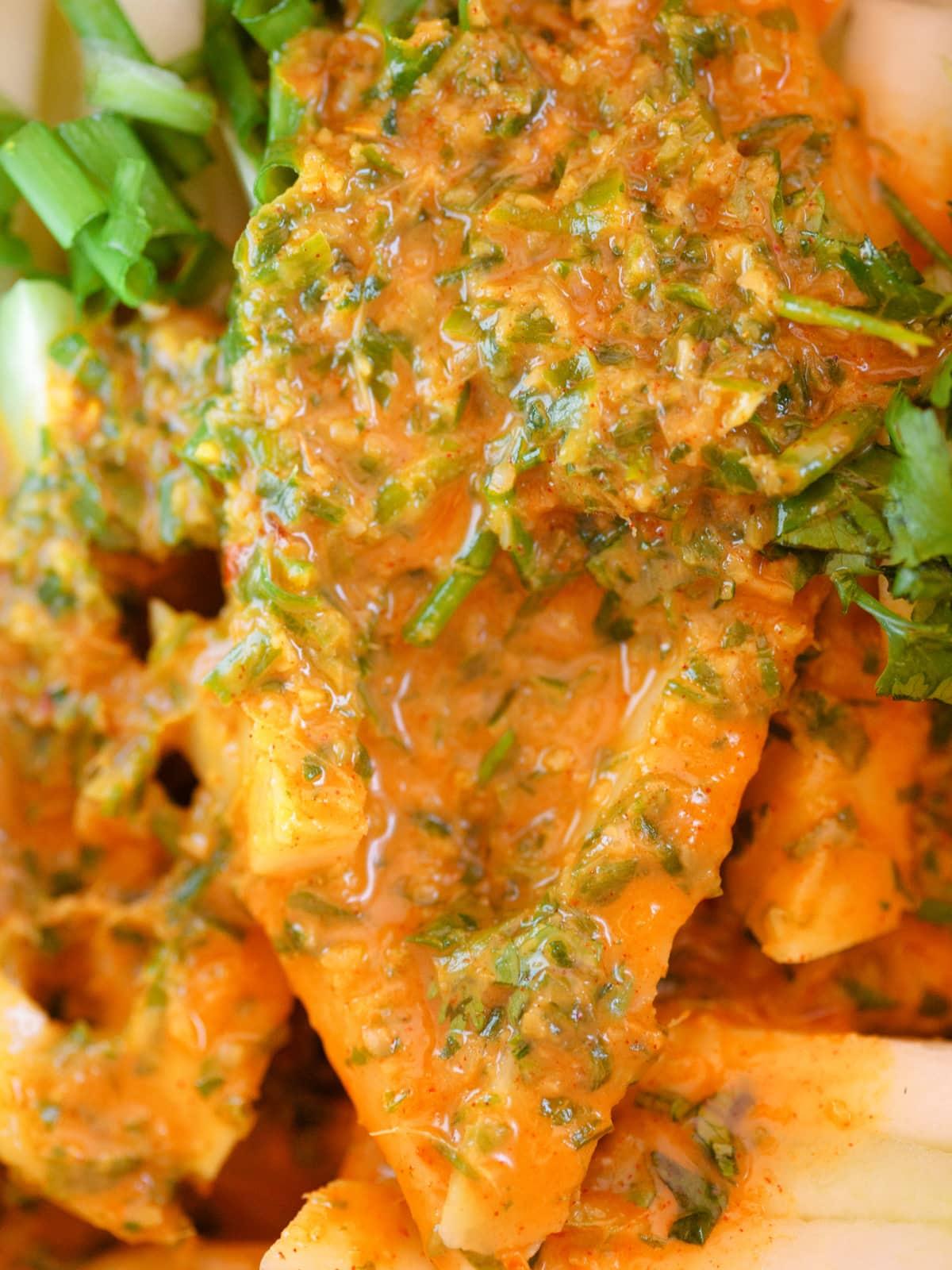 spicy chili zitronen sauce am kohlrabi salat